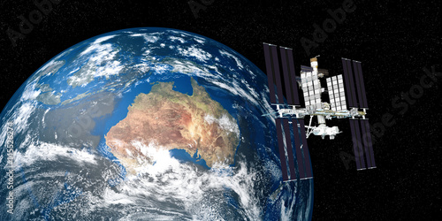 Extremely detailed and realistic high resolution 3D image of ISS - international space station orbiting Earth. Shot from outer space. Elements of this image are furnished by NASA.
