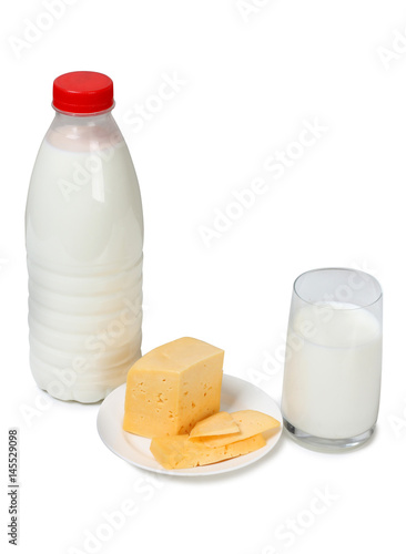 Cheese with milk on white background