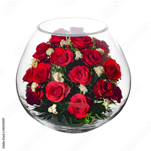 Papiers peints Azalea Live flowers in a closed glass vase. Isolated on white background