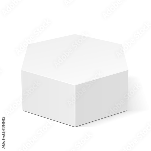 White Cardboard Hexagon Box Packaging For Food, Gift Or Other Products. Illustration Isolated On White Background. Mock Up Template Ready For Your Design. Product Packing Vector EPS10
