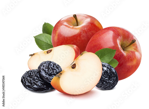 2 whole red apples, pieces and dry plums isolated