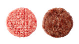 Raw and fried burger beef patty isolated on white background - 145547414