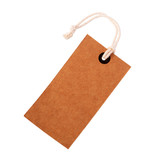 Cardboard price label note with rope isolated on the white background - 145548074