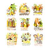 Madagascar, Crete, Bali, Seychelles, Ibiza, Jamaica resort set for label design. Summer beach tourism and rest vector Illustrations - 145551487
