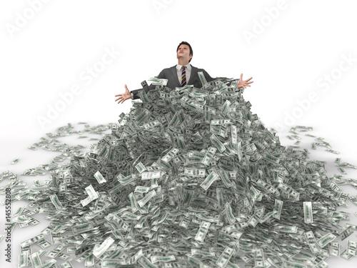 businessman in a heap of money