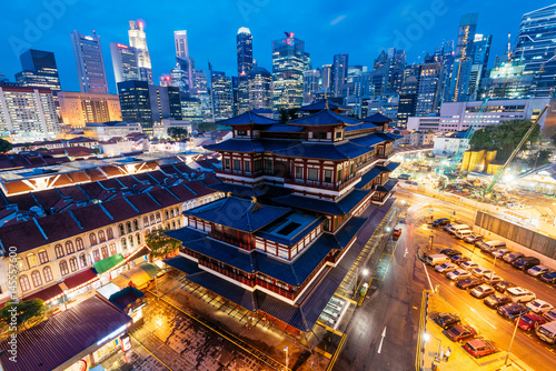 Buddha Tooth Relic Temple at night in Singapore Poster