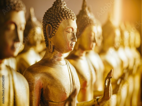 Fotobehang Boeddha Gold Buddha Statue Religion Antique collection