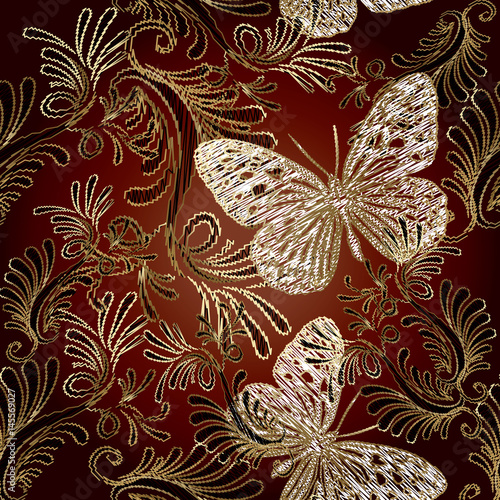 Staande foto Vlinders in Grunge Embroidery style floral damask seamless pattern. Vector background wallpaper with vintage tapestry grunge arras gold flowers, butterflies, leaves and antique ornament in Victorian style.
