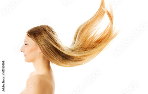 Beautiful long blonde hair, isolated on white. Poster