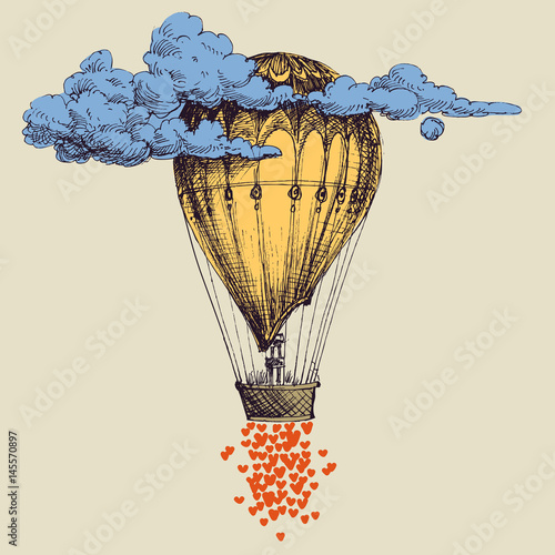 Hot air balloon up in the sky with lots of hearts. Love concept - 145570897