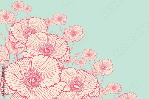 stylized cosmos flowers corner ornament in pink shades