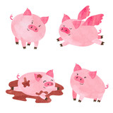 Watercolor cute pigs set. Vector cartoon illustration. - 145574063