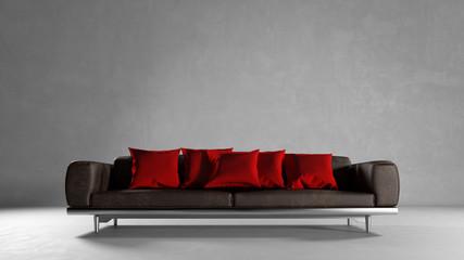Sofa vor Wand mit Platz für Leinwand