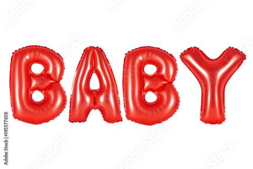 Poster baby in english alphabet from red balloons