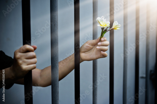 woman prisoner in prison with white flowers Poster