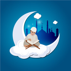 Illustration of a Little Muslim Boy Reading the Quran On The Moon