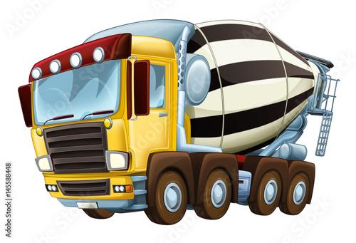 cartoon industry truck concrete mixer illustration for children - 145588448