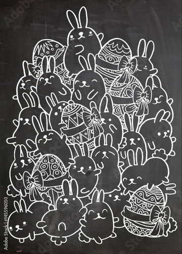 Easter hand drawn vector egg and rabbit