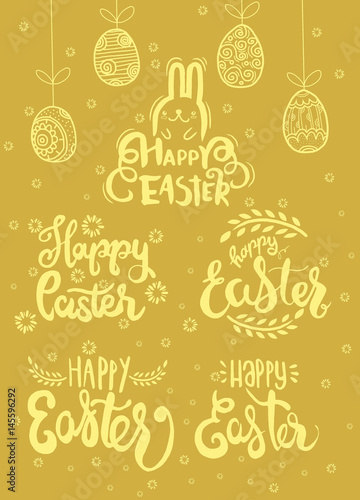 Hand written Easter phrases , Happy easter lettering modern calligraphy style.