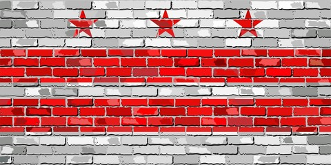 Flag of Washington, D.C. on a brick wall - Illustration, The flag of the state of Washington, D.C. on brick textured background, Washington, D.C. Flag in brick style