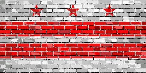 Flag of Washington, D.C. on a brick wall - Illustration, The flag of the state of Washington, D.C. on brick textured background, Washington, D.C. Flag in brick style