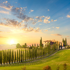 Tuscany at sundown - countryside road with trees and house