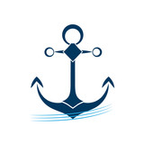 Ship anchor on blue waves vector icon