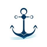 Ship anchor on blue waves vector icon