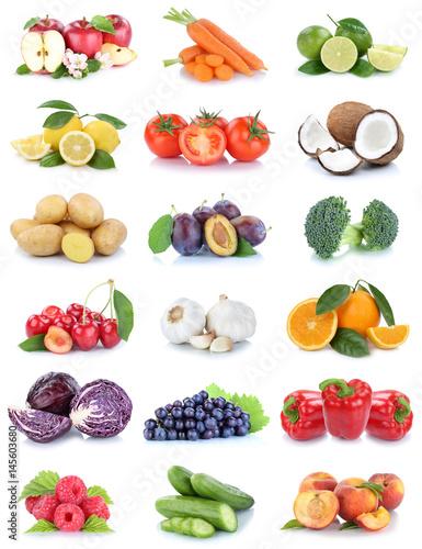 Obst und Gemüse Früchte Sammlung Äpfel, Orangen Tomaten Beeren Trauben Essen Fre