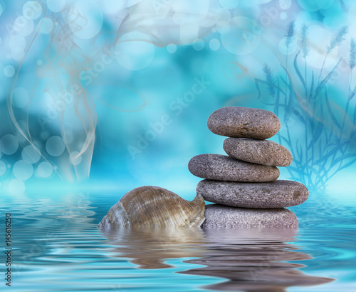 Aluminium Zen Stenen piedras en el agua