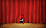 Eyes Behind Red Curtains On Wood Stage - 145616636