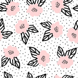 Hand Drawn Flowers Seamless Pattern - 145617434