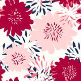 Hand Drawn Flowers Seamless Pattern - 145617868