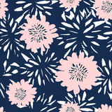 Hand Drawn Flowers Seamless Pattern - 145618004