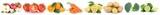 Obst und Gemüse Früchte Äpfel, Orangen Zitronen Tomaten Essen Freisteller in einer Reihe