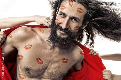 Fotobehang Konrad B. Portrait of a skinny handsome guy taken by lots of women