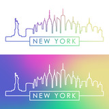 New York skyline. Colorful linear style.