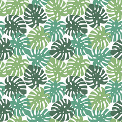 monstera turquoise, light green and dark green leaves tropical summer paradise pattern on a white background seamless vector