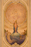 TURIN, ITALY - MARCH 13, 2017: The ceiling fresco of Immaculate Conception and Heart of Jesus in side chapel of church Chiesa di Santo Tomaso  designed by architect Giuseppe Gallo (1860 - 1927). - 145633638