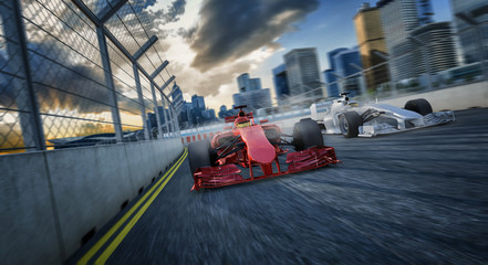 2 Formel Rennwagen von Vorne