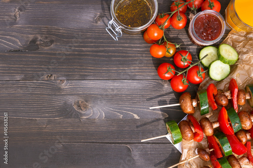 Grilled vegetarian meal on the wooden table, top view. Barbecue party outdoor - 145638261