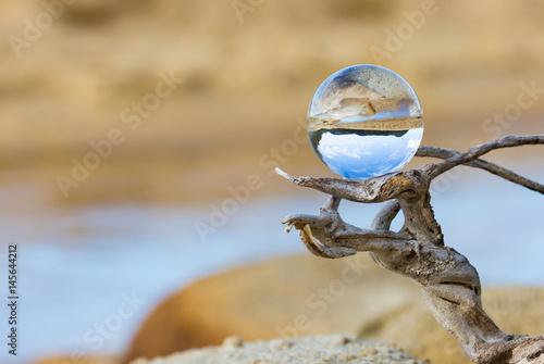 Glaskugel auf Ast in einer trockenen Landschaft - 145644212