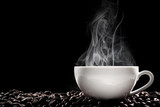 Steaming coffee cup put on coffee beans isolated on black background.
