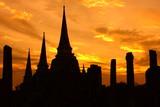 Silhouette of Wat Phra Sri Sanphet ,  Ayutthaya Historical Park , Thailand