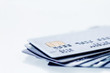 Close up the stacking of credit cards with extremely shallow DOF