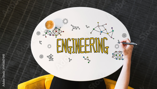 Engineering text on a white table