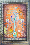 Ethnic,geometric and alchemic collage with magic tree