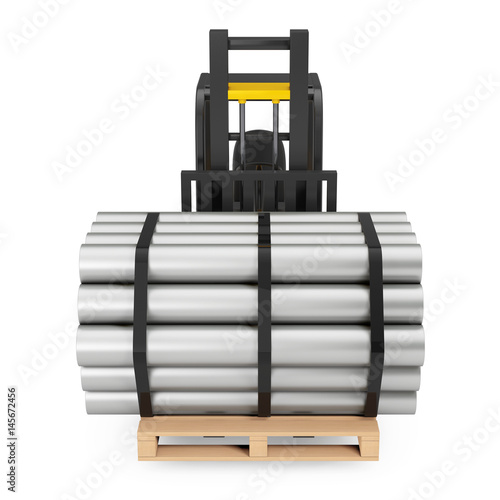 Forklift Truck Carry Stack of Metal Pipes. 3d Rendering Poster