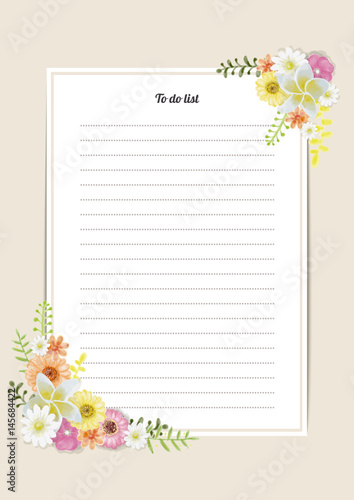 Flowers template memory book with blossoms Watercolor Painting style - 145684422