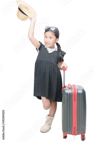 cute girl traveler with suitcase isolated
